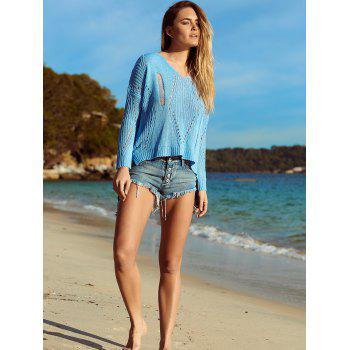 Séduisante V Neck évider Crochet Cover-Up - Azur XL