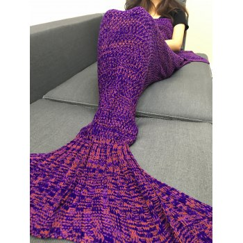 Stylish Multicolor Knitting Sleeping Bag Fish Tail Design Blanket For Adult - PURPLE