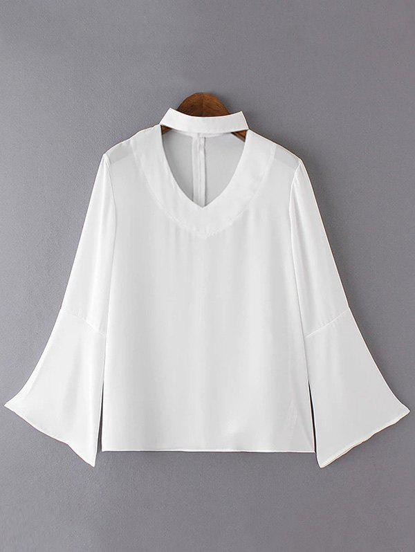 Brief Women's Flare Sleeves Pure Color Blouse - WHITE XL