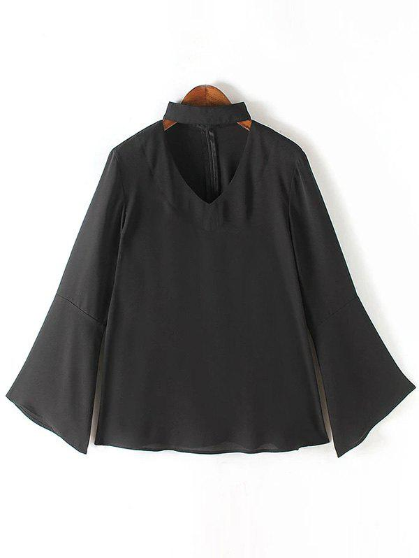 Brief Women's Flare Sleeves Pure Color Blouse - BLACK XL