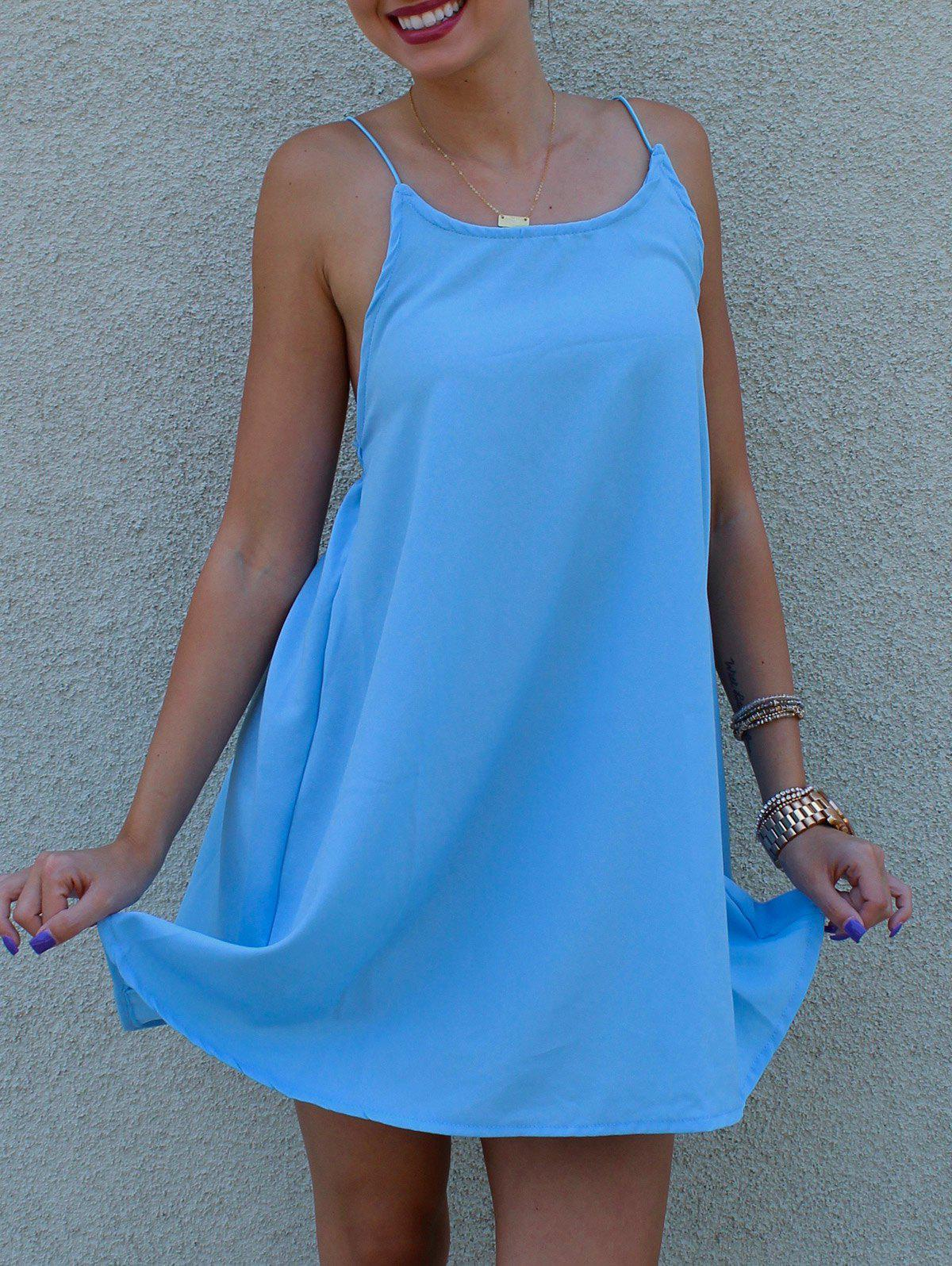 Women's Stylish Strappy Blue Cross Back Dress - AZURE XL