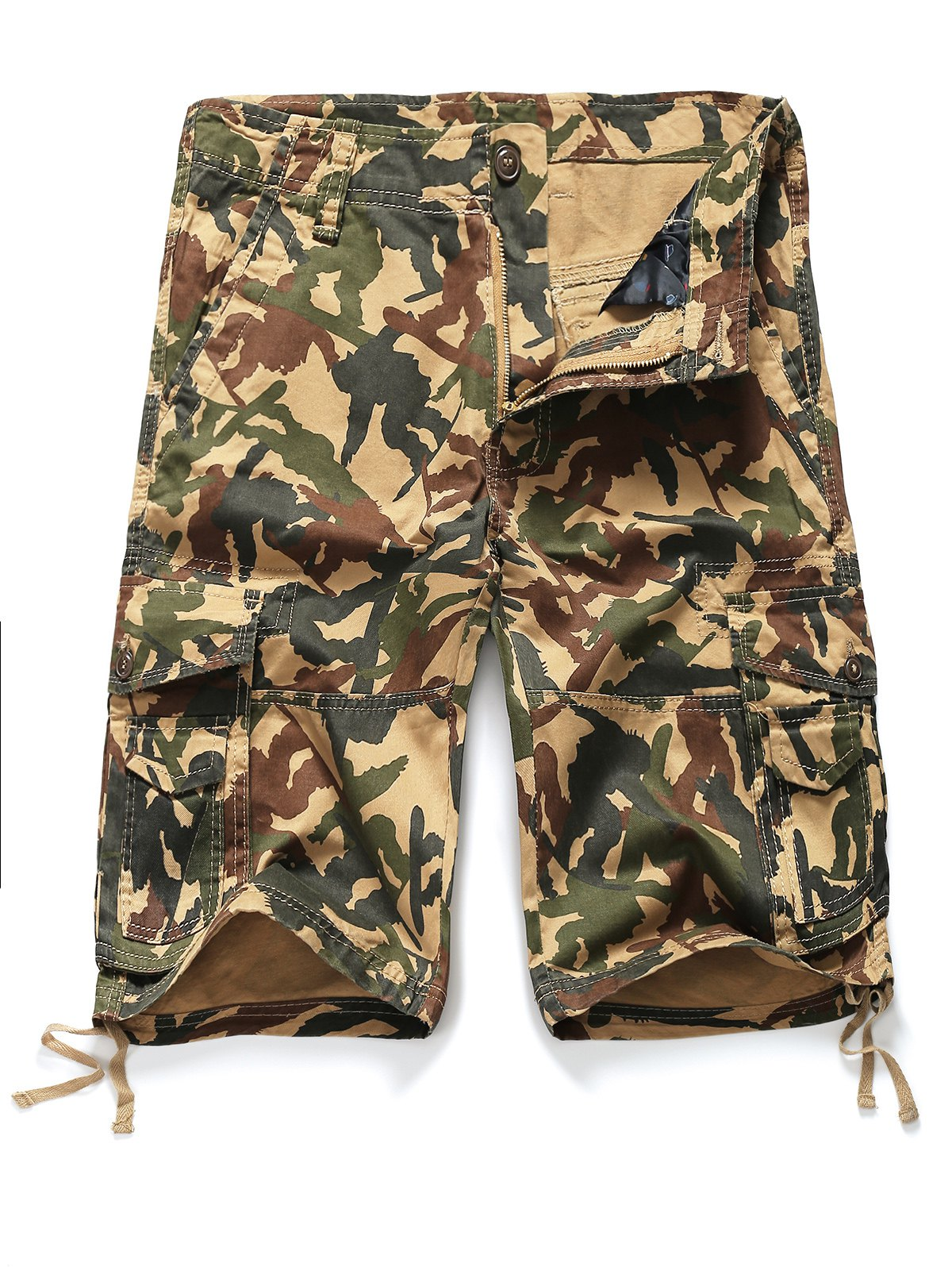 Buy Straight Leg Camouflage Pattern Zipper Fly Pockets Embellished Men's Shorts CAMOUFLAGE