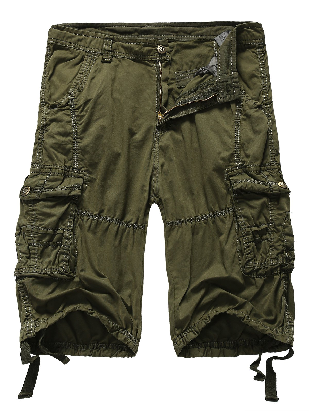 Straight Leg Zipper Fly Pockets Embellished Men's Shorts - ARMY GREEN 3XL