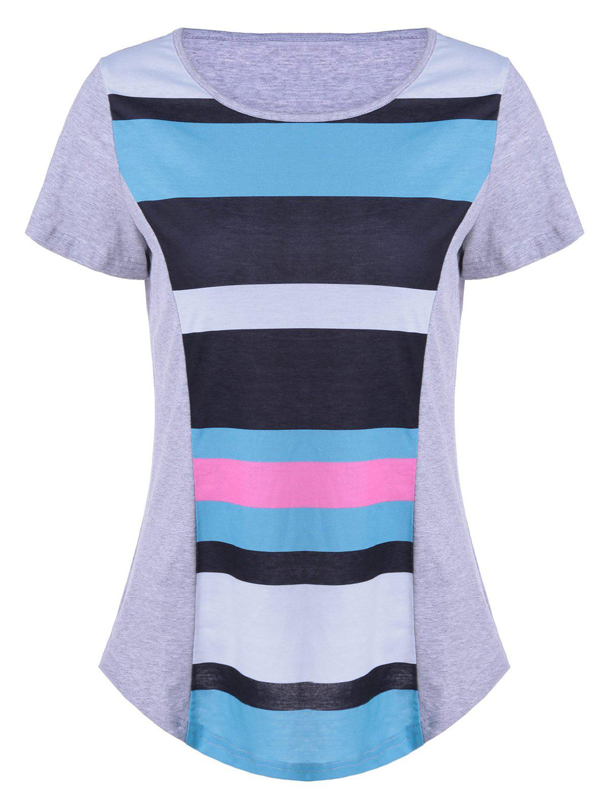 Casual Color Block Comfy T-Shirt - COLORMIX XL