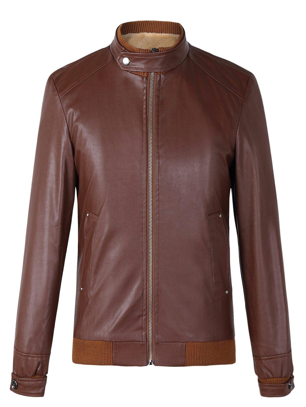 Fashionable Stand Collar Long Sleeves Ribbed Hem Thicken Leather Jacket For Men - COFFEE 3XL