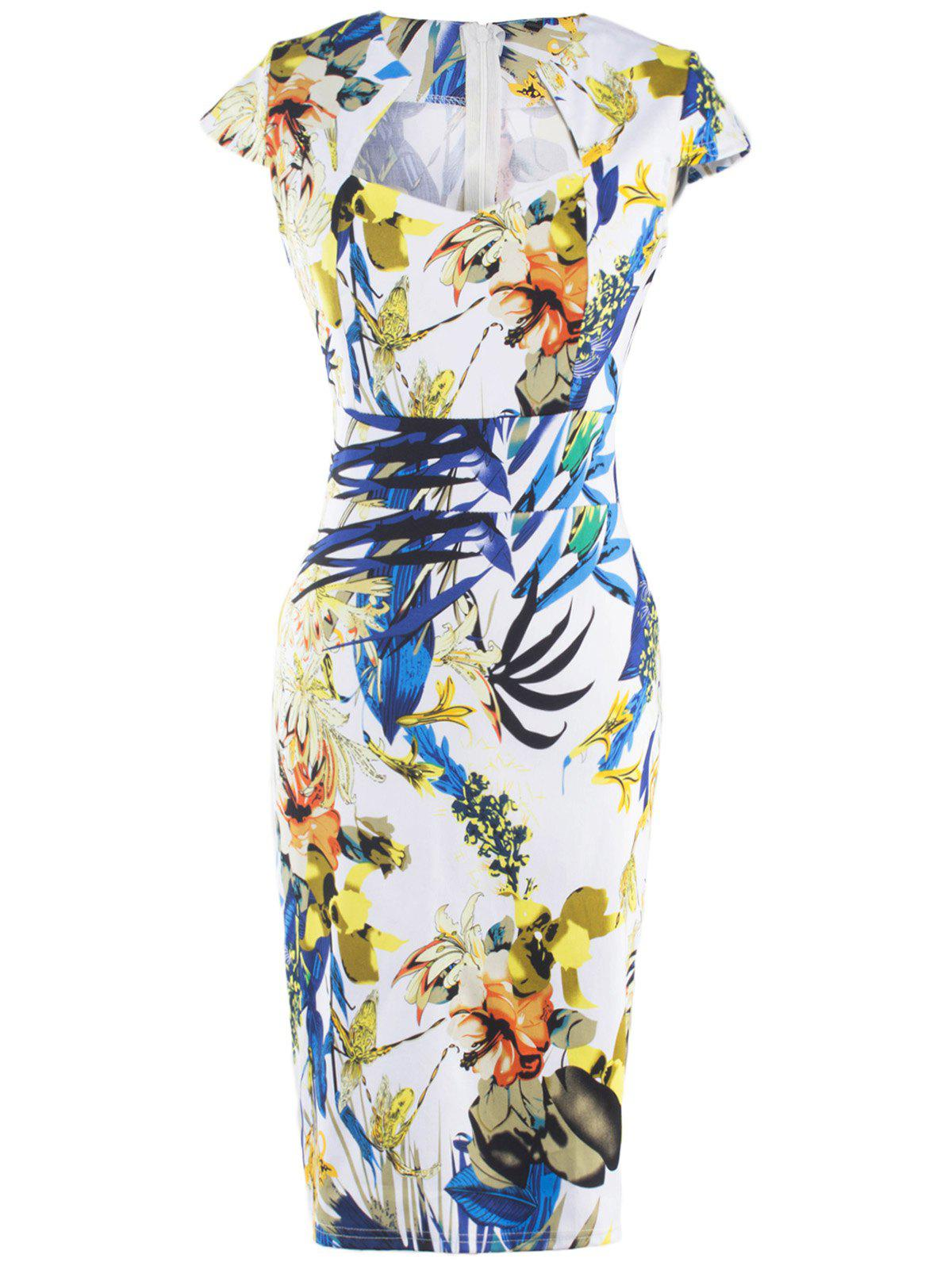 Chic Women's Floral Print High Waist Sheath Dress