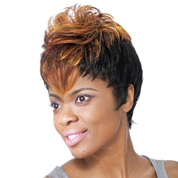 Women's Short Fluffy Full Bang Mixed Color Charming Synthetic Wig - COLORMIX