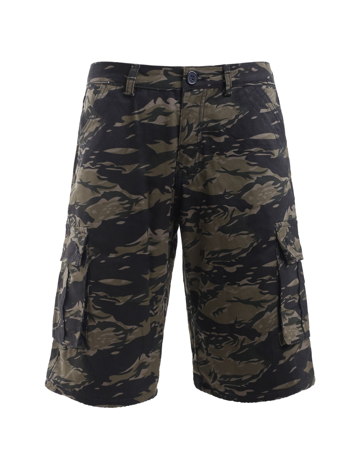 Buy Camouflage Print Straight Leg Zipper Fly Pockets Embellished Men's Shorts CAMOUFLAGE