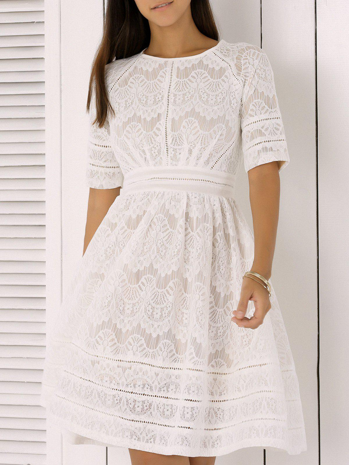 Pure and Plain High-Waist Lace Skater Dress - WHITE XL