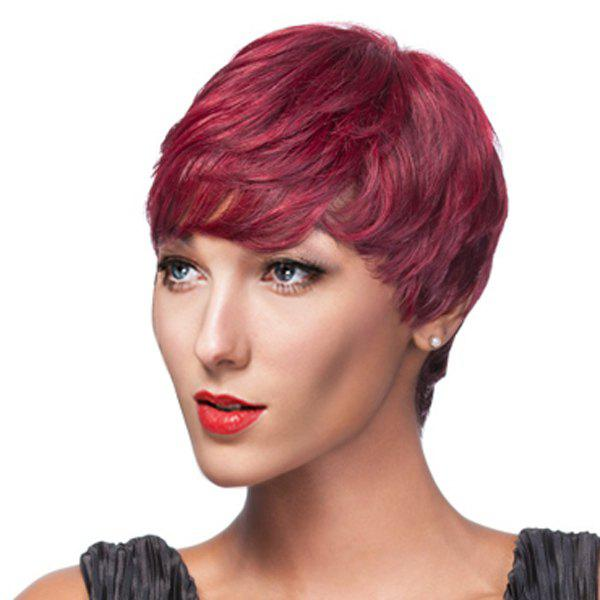 Pixie Cut Stylish Women's Wine Red Gradient Short Full Bang Synthetic Wig
