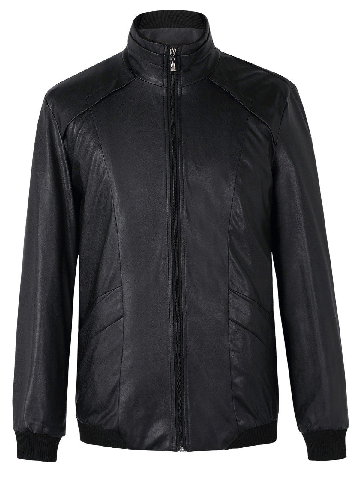 Brief Stand Collar Long Sleeves Pure Color Leather Jacket For Men - 3XL BLACK