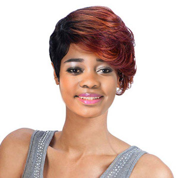 Colored Pixie Cut Women's Short Fluffy Wavy Side Bang Synthetic Wig - COLORMIX