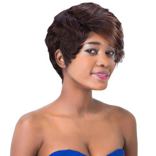 Colored Women's Short Fluffy Wavy Side Bang Synthetic Wig