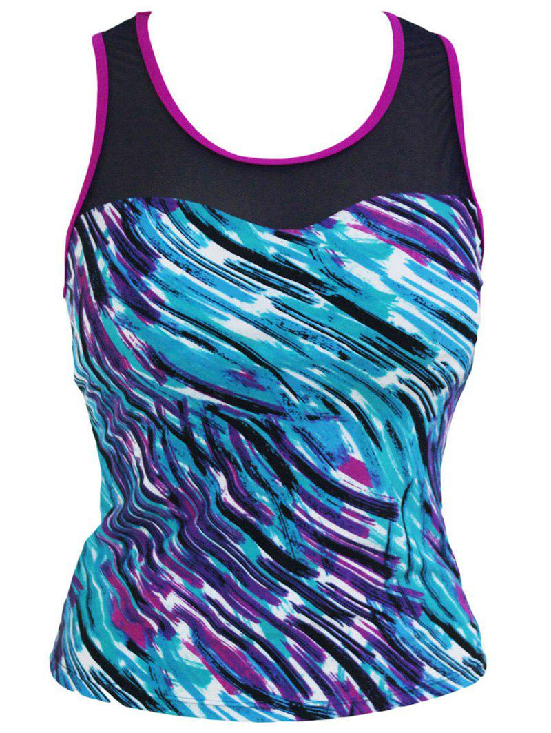Stylish Starry Sky Print Mesh Spliced Racerback Swim Top - COLORMIX 3XL