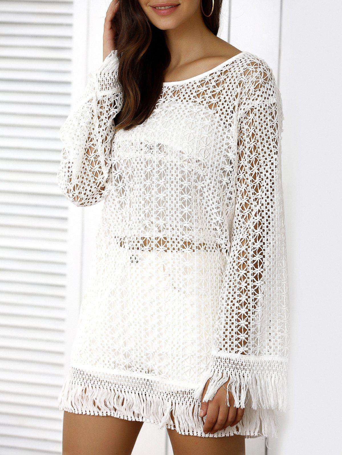 Casual Long Sleeve Openwork Fringed Cover-Up - WHITE L