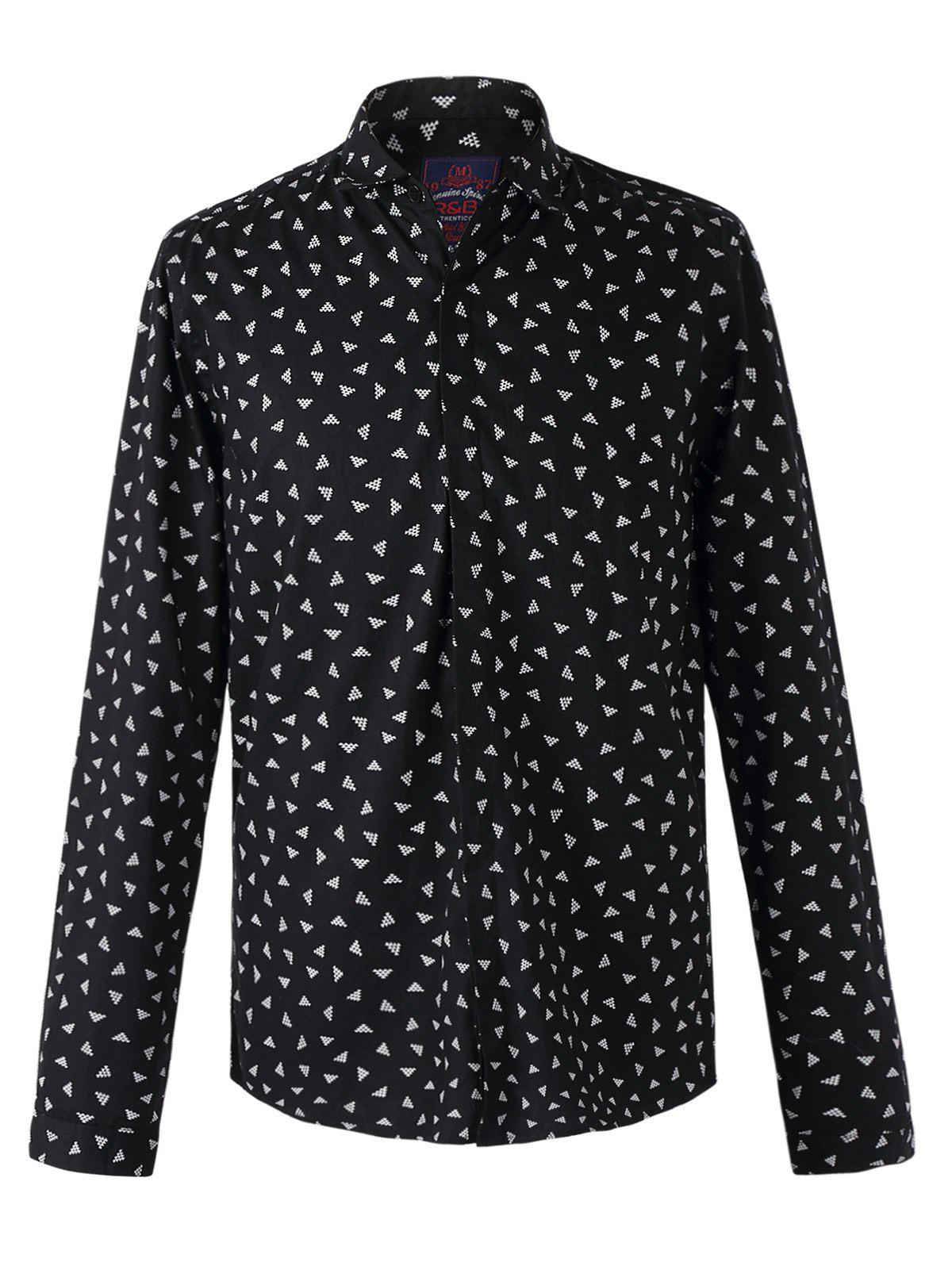 Stylish Tiny Geometries Print Long Sleeves Shirt For Men - BLACK 2XL