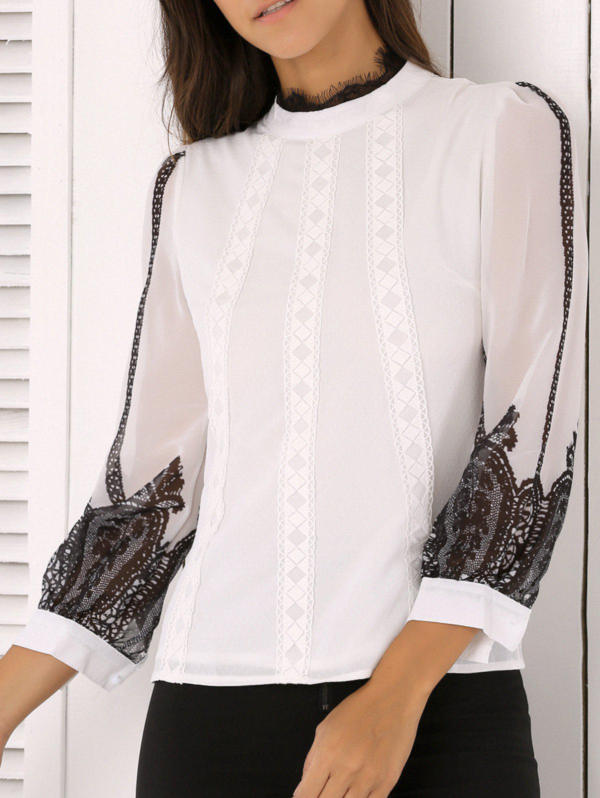 Ladylike Lace Splicing Chiffon Blouse - WHITE L