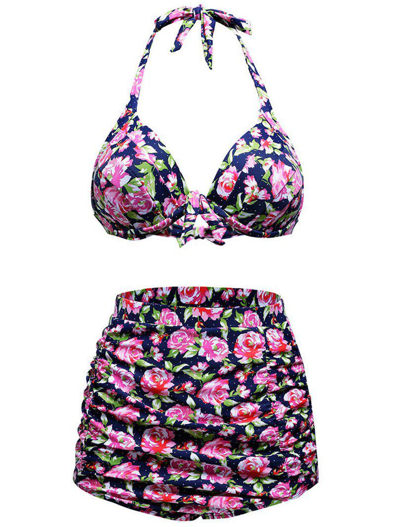Stylish Floral Print High Waist Halter Bikini Set - COLORMIX S