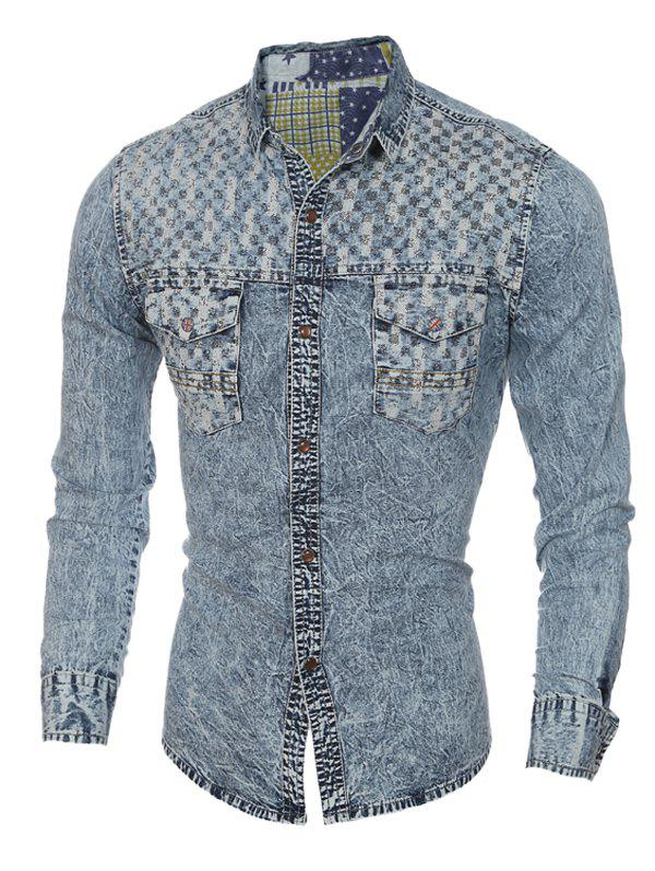 Pockets Front Spliced Snap Button Up Long Sleeve Men's Denim Shirt