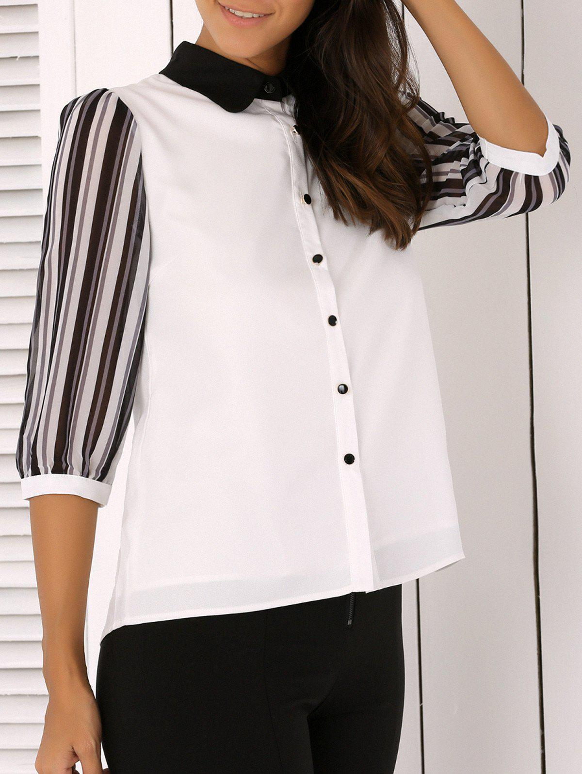 Shirt Collar Striped Chiffon Blouse - WHITE XL