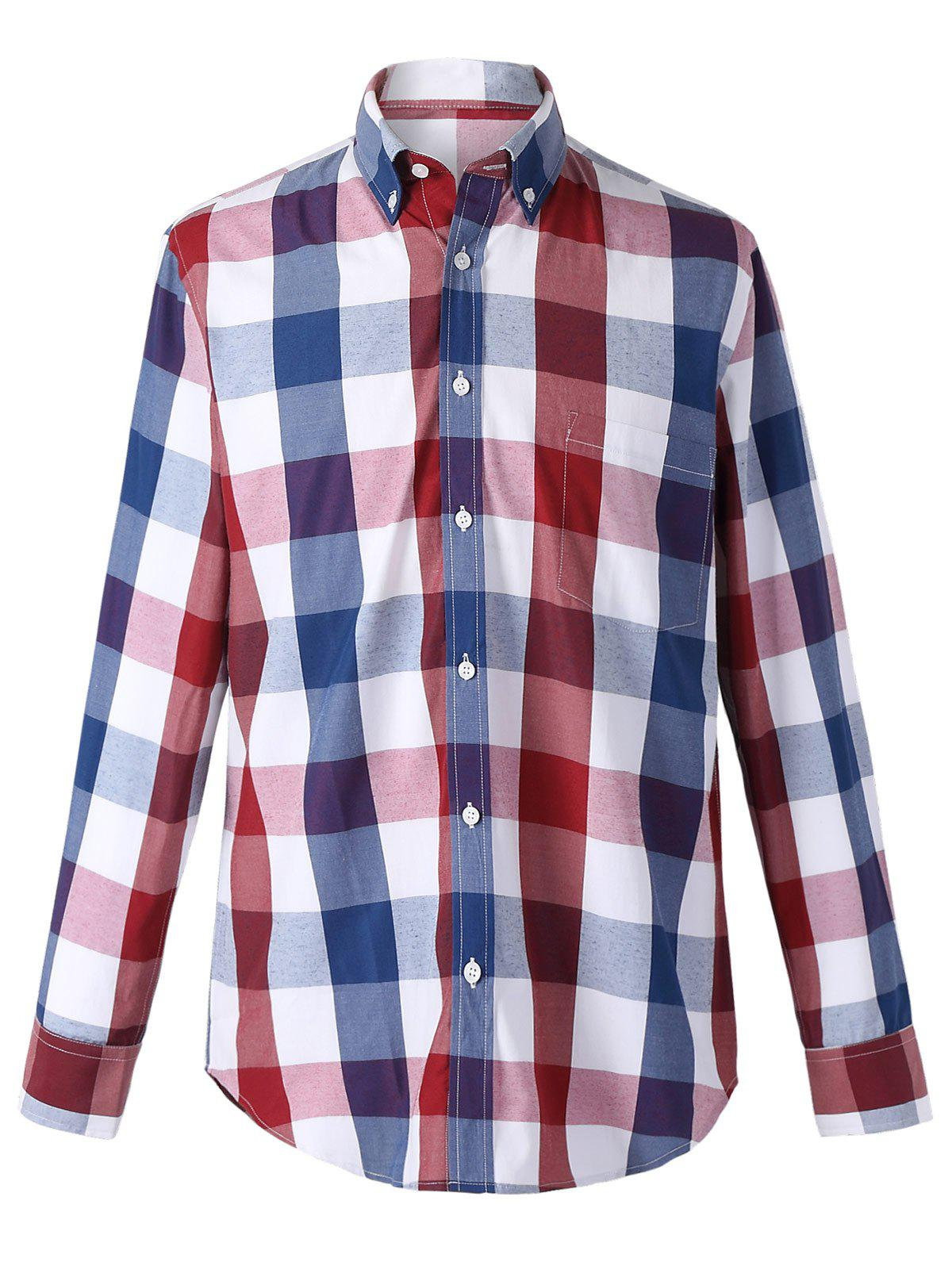 Classic Turn-Down Collar Long Sleeves Red and Blue Plaid Shirt For Men