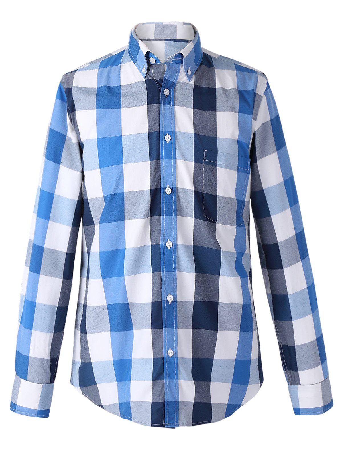 Turn-Down Collar Long Sleeve Classic Plaid Shirt For Men - BLUE 2XL