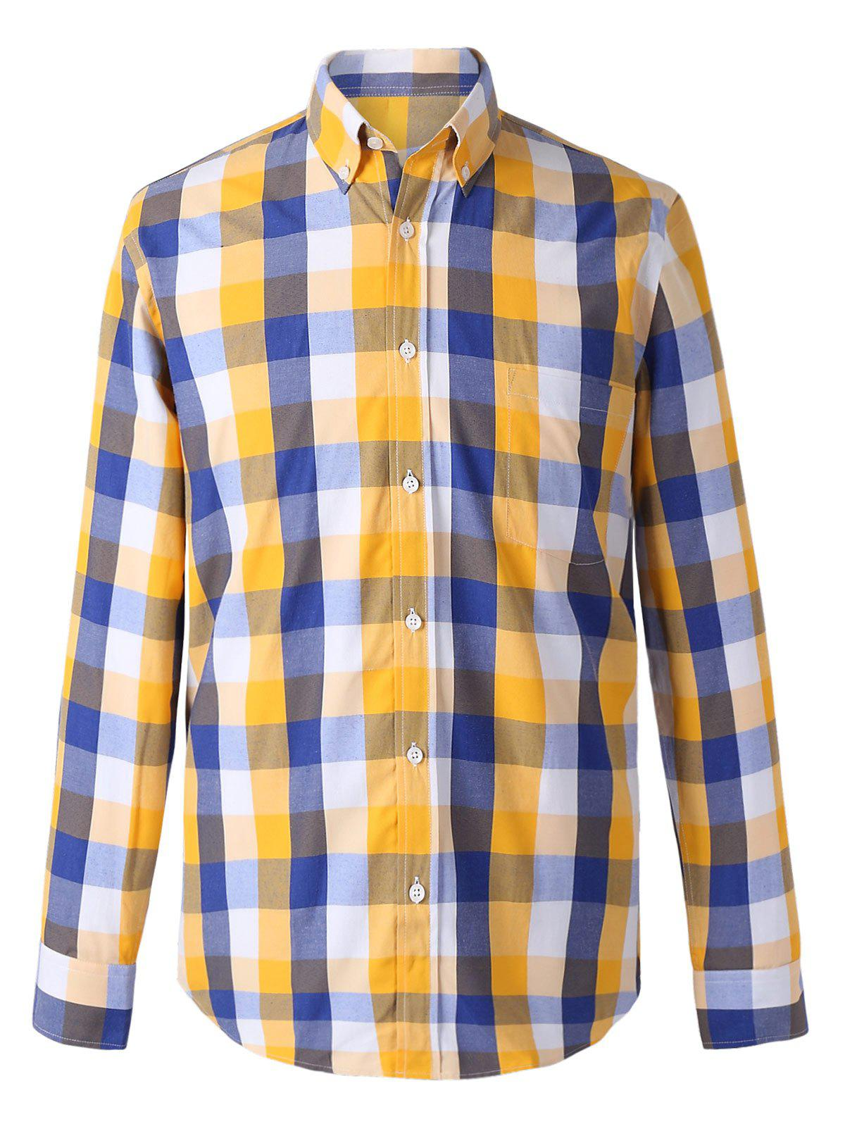 Turn-Down Collar Long Sleeves Classic Plaid Shirt For Men - BLUE/YELLOW 2XL