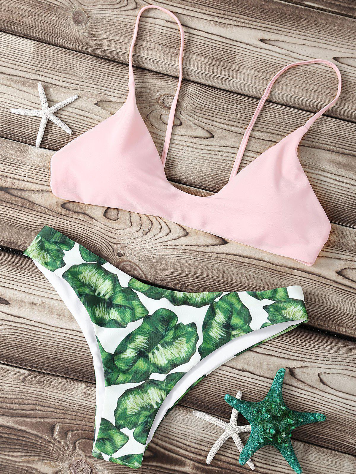 Refreshing Spaghetti Strap Leaf Print Women's Bikini Set - PINK XL