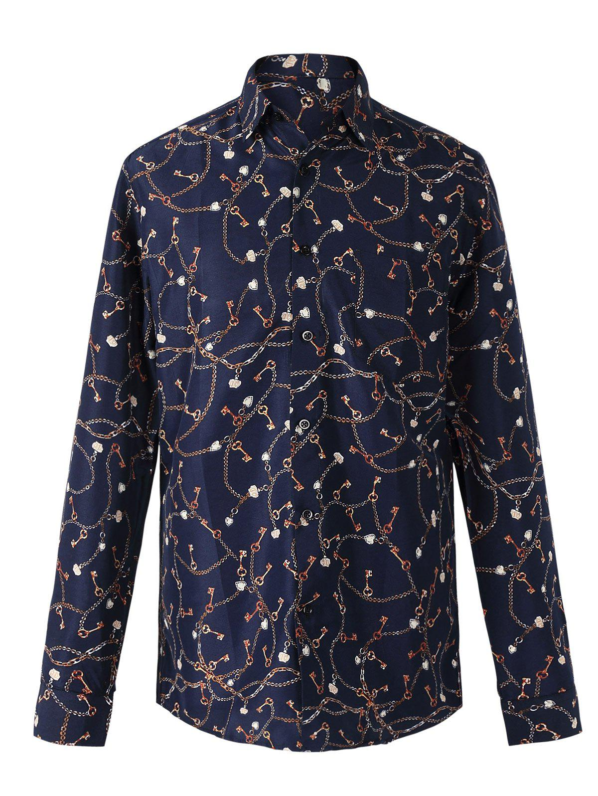Fashion Chains Print Turn-Down Collar Long Sleeve Shirt For Men - 2XL COLORMIX