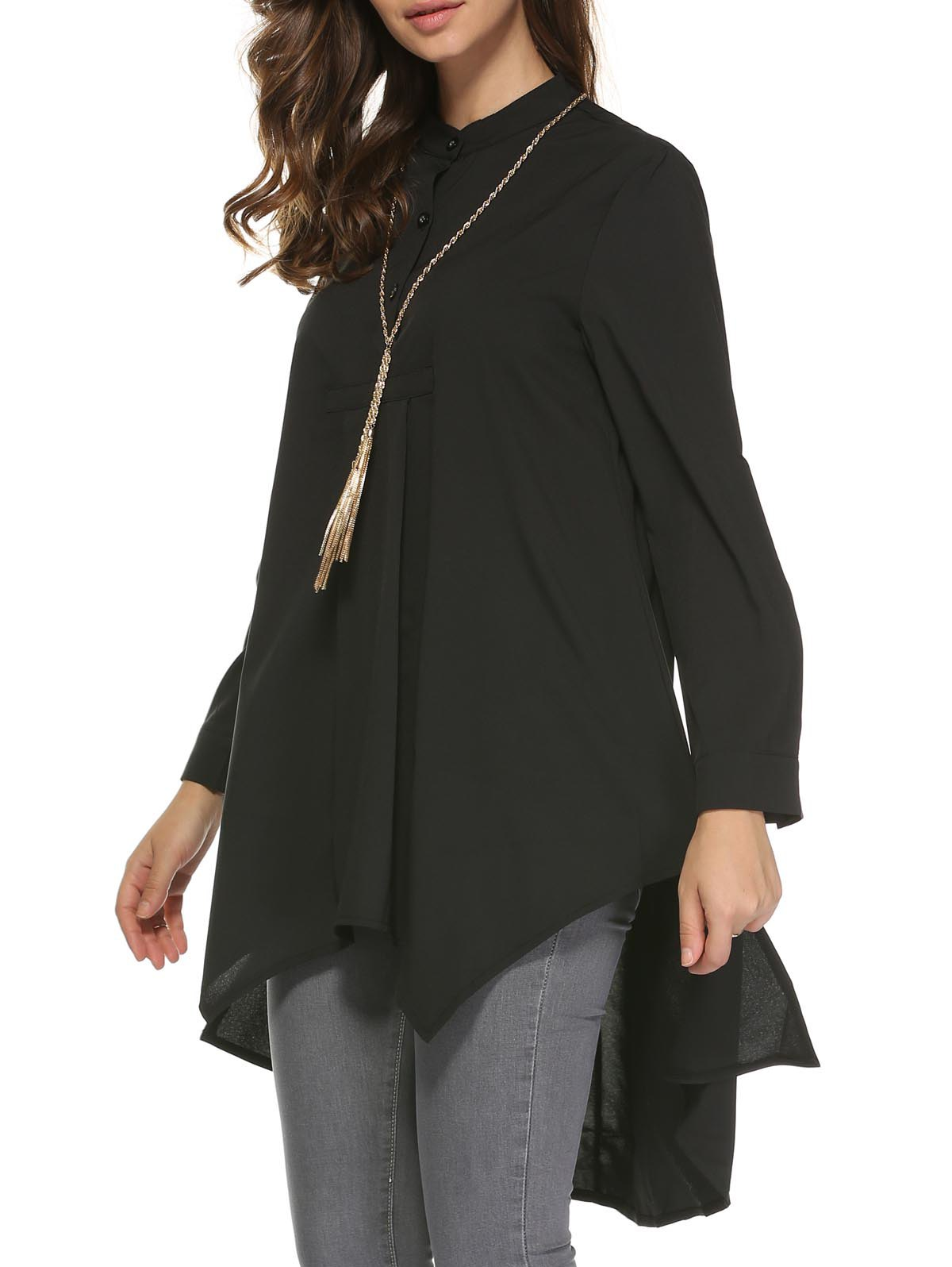 Long Sleeve Loose-Fitting High Low Blouse For Women - XL BLACK