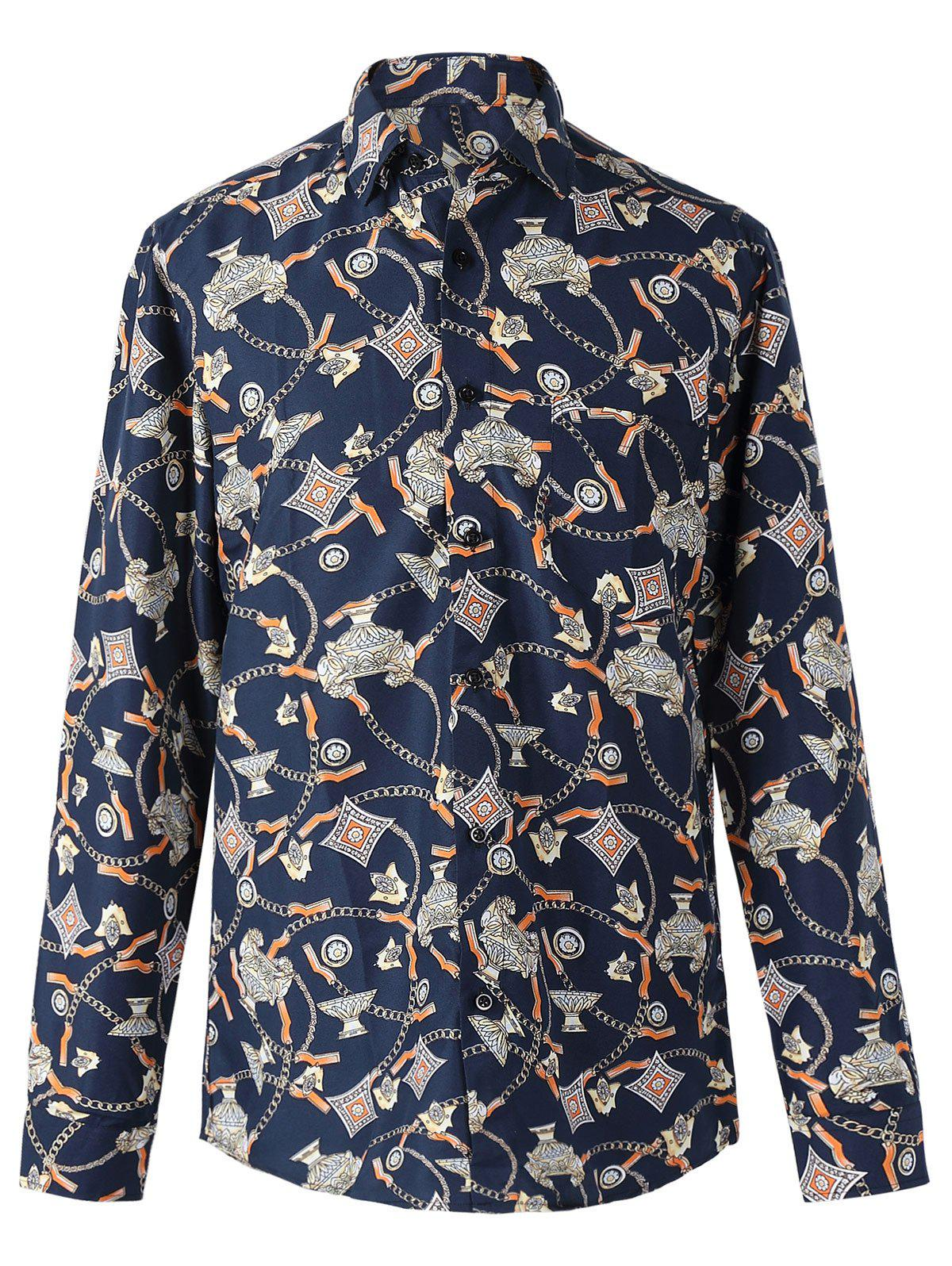 Chic Chains and Geometric Print Long Sleeves Shirt For Men