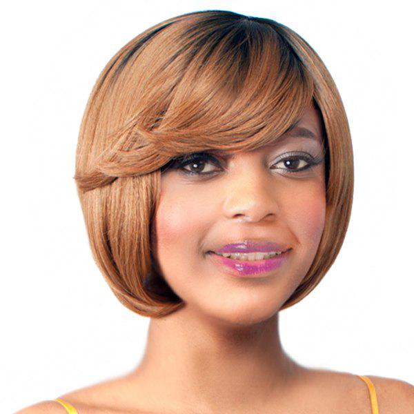 Endearing Brown Mixed Short Straight Side Bang Synthetic Wig - COLORMIX