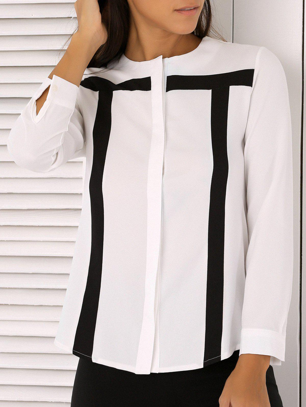 Simple Design Hit Color Chiffon Blouse