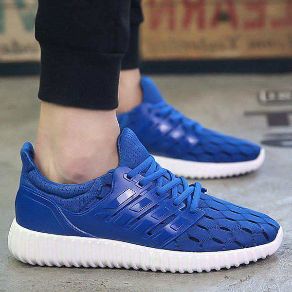 Fashion Solid Colour and Breathable Design Men's Athletic Shoes - BLUE 43