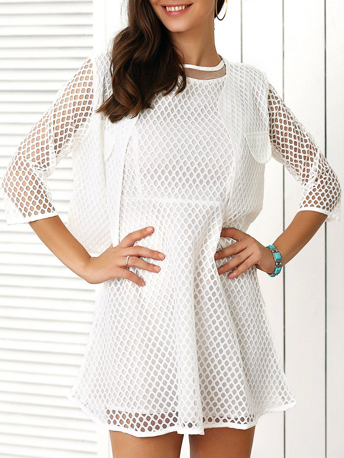 Pure Color Coat and Hollow Out Dress Twinset - WHITE XL