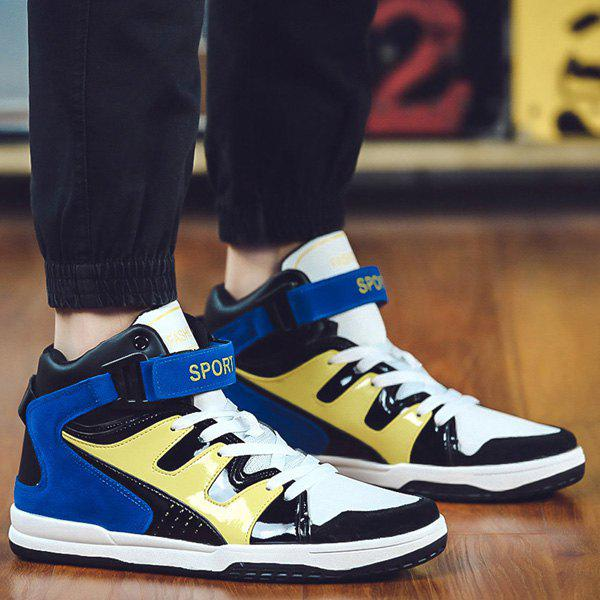 Trendy High Top and Colour Block Design Men's Athletic Shoes - BLUE 43