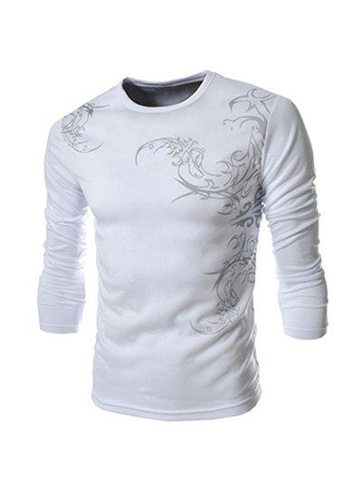 Round Neck Tattoo Style Chinoiserie Print Long Sleeve Men's T-Shirt - WHITE 2XL