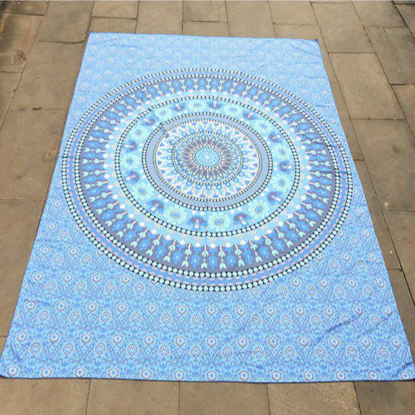 Bohemian Style Round and Flower Pattern Bikini Swimwear Light Blue Long Scarf - LIGHT BLUE