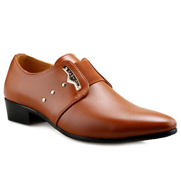 Trendy Métal et Elastic Band design Hommes d  'Formal Shoes - BRUN 40