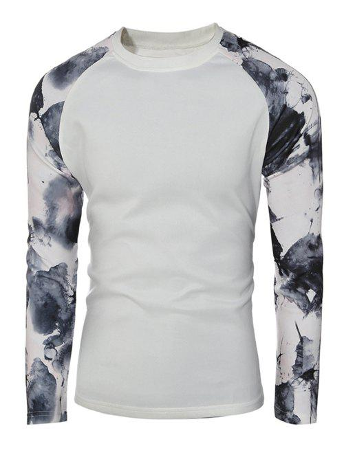 Raglan Sleeve Splatter Paint Pullover SweatshirtMen<br><br><br>Size: XL<br>Color: WHITE