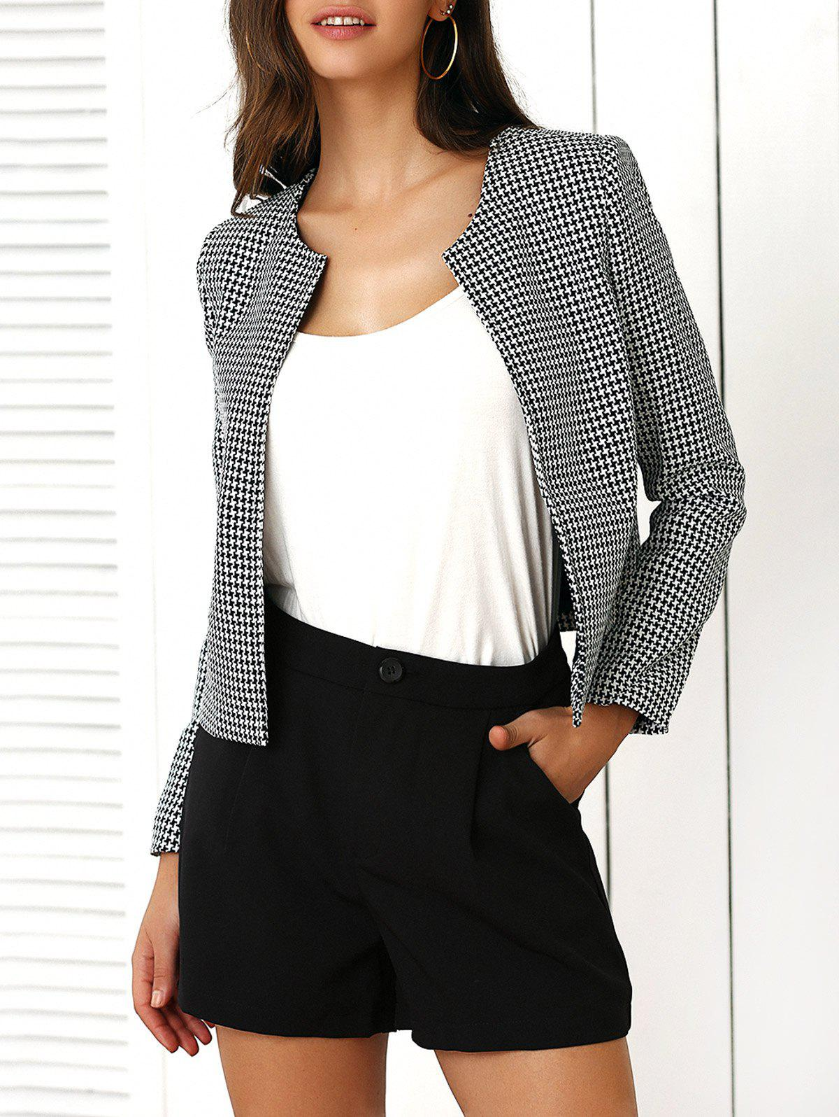 Houndstooth Pattern Coat and Pure Color Shorts Twinset