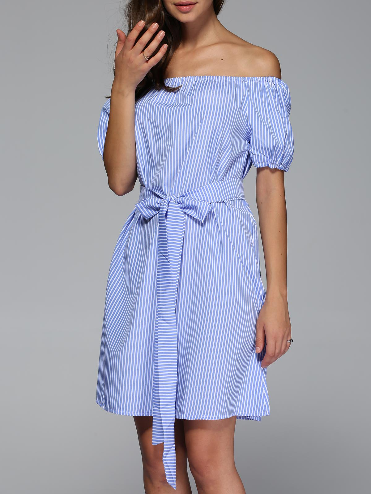 Off The Shoulder Bowknot Striped Mini Dress - LIGHT BLUE L