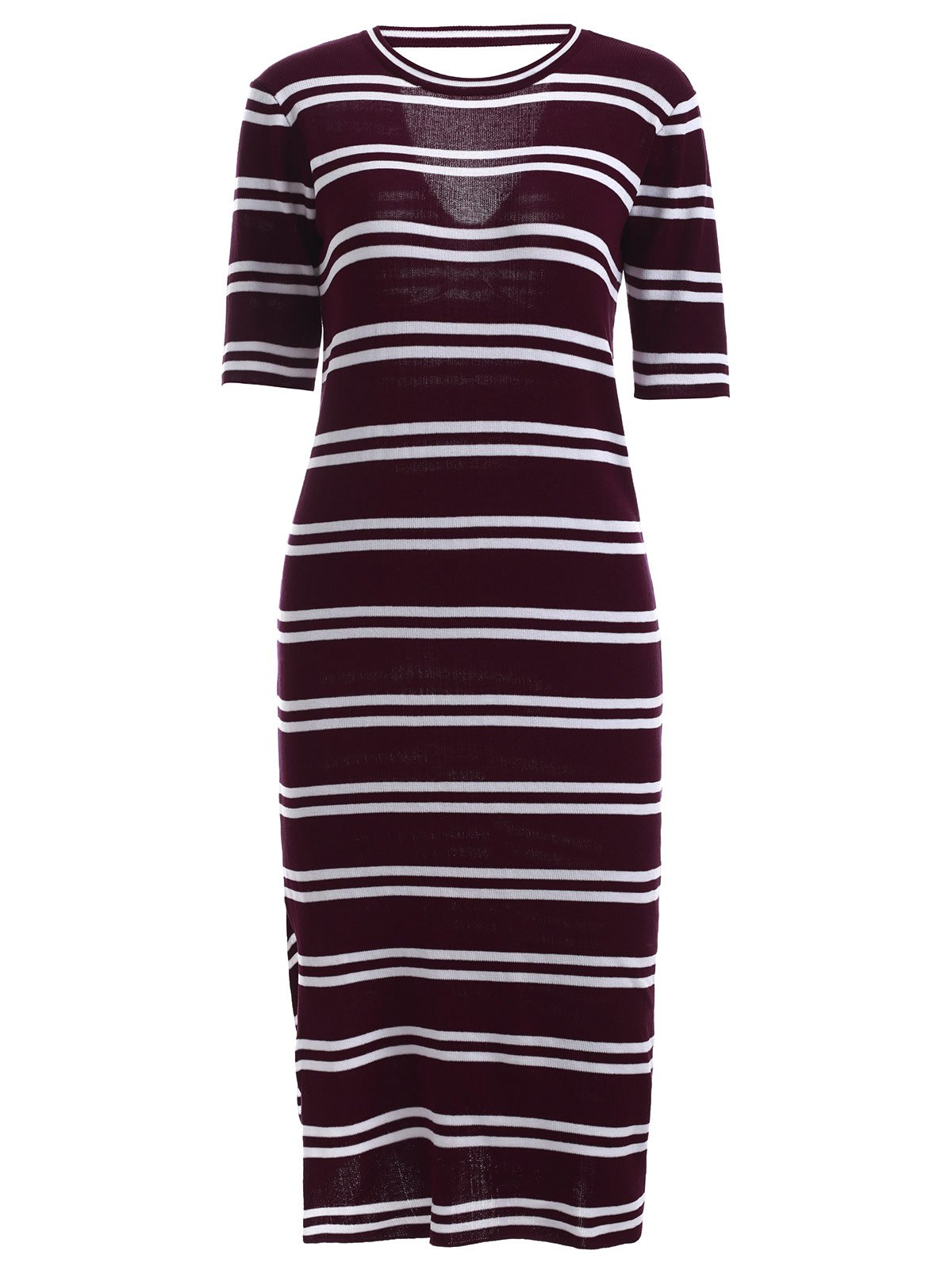Stylish Round Neck Striped Cut Out Women's Dress