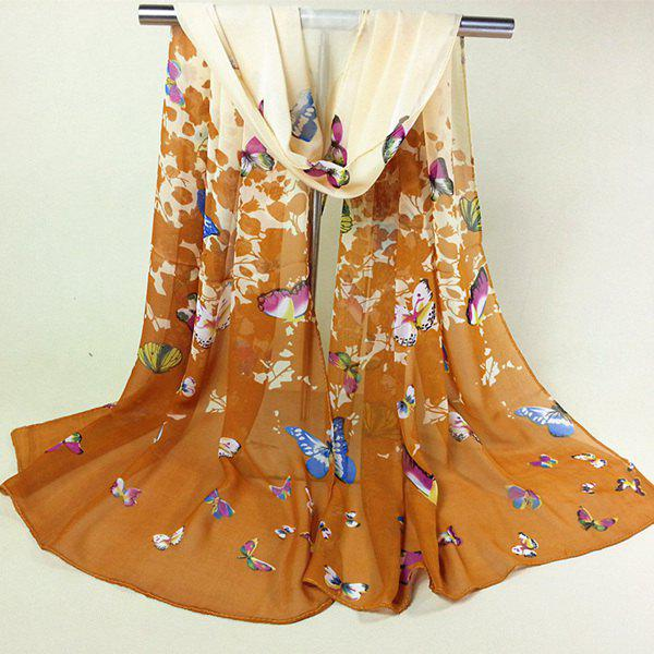 Literature Artist Style Butterfly and Flower Pattern Womens Chiffon ScarfAccessories<br><br><br>Color: DARK KHAKI