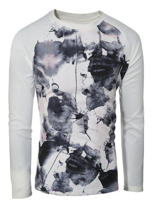 Crew Neck Splatter Paint Raglan Sleeve Sweatshirt - WHITE XL