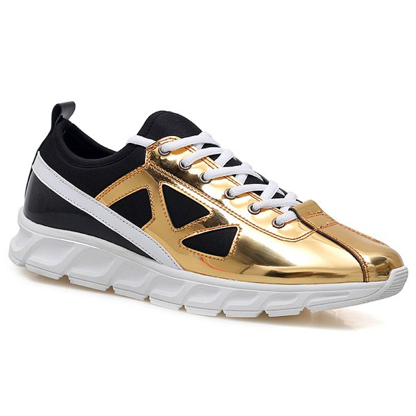 Stylish Color Block and Splice Design Men's Athletic Shoes - GOLDEN 43