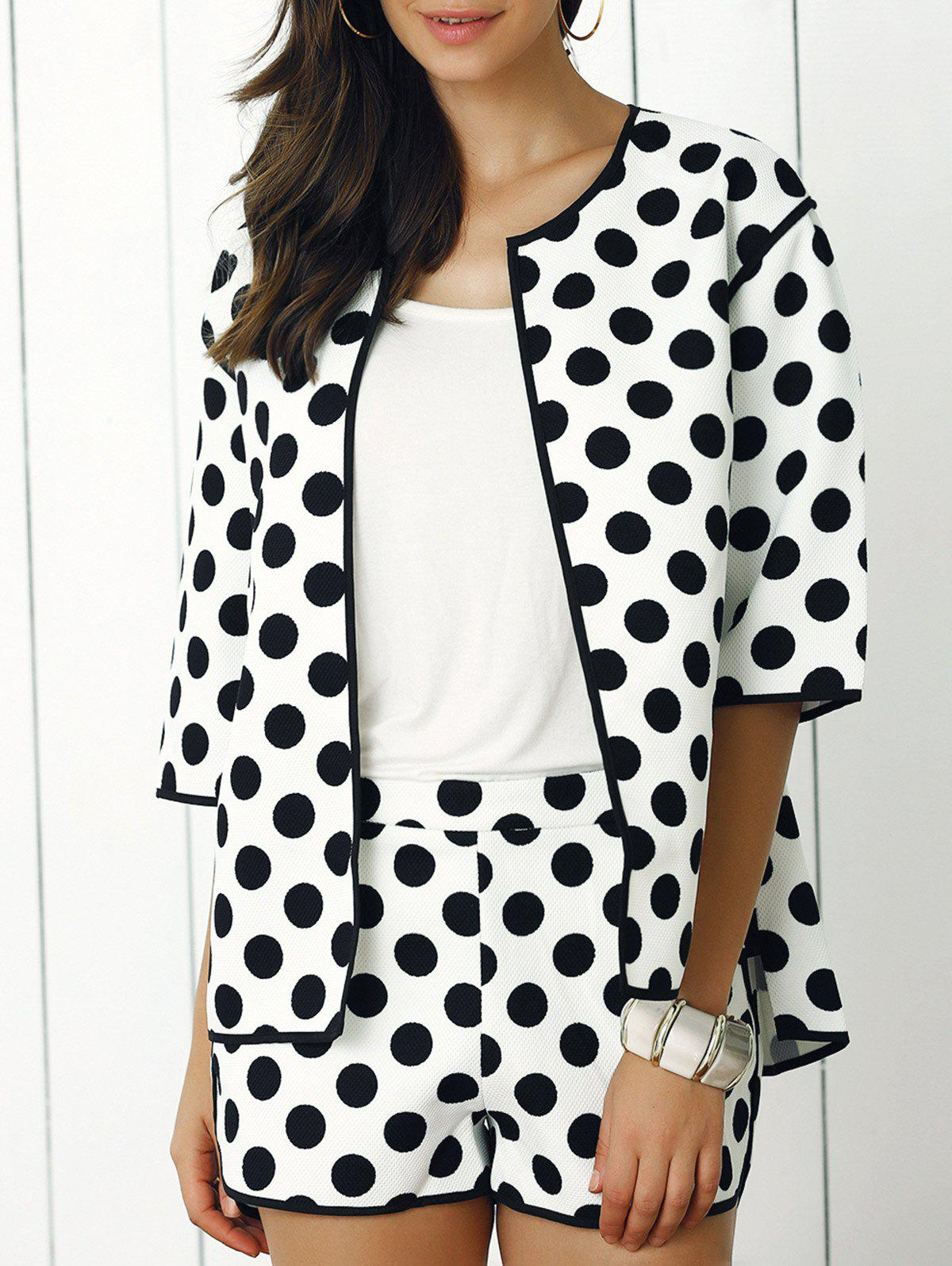 Fashionable Polka Dot Coat and Mini Shorts Twinset - WHITE XL