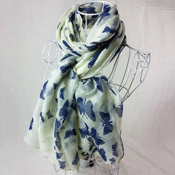 Literature Artist Style Plain Color Butterfly Painting Pattern Women's Scarf - BEIGE