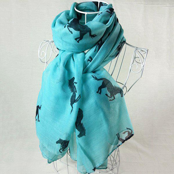 Literature Artist Style Gallop Horse Painting Pattern Women's Scarf - LAKE BLUE