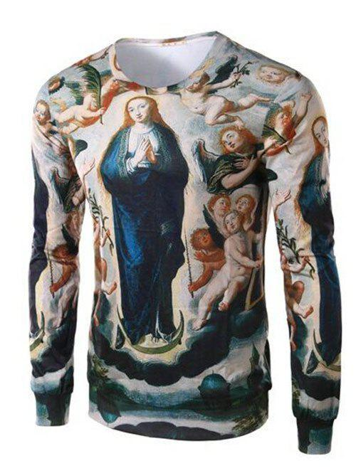 Round Collar Long Sleeve Ave Maria Print Tee For Men - COLORMIX 4XL